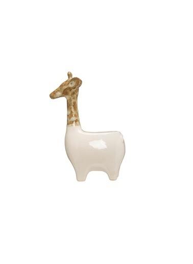 Warm Design Seramik Zürafa Çicek Saksısı Beyaz